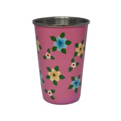 Dusty Pink Tumbler with small flowers | Jasmine White