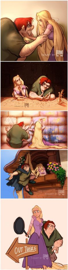 Disney pixar - Quasimodo and Rapunzel The Hunchback of Notre Dame and Tangled crossover Awww, so cute! They would totally be friends! Disney Pixar, Disney Marvel, Disney Animation, Disney Memes, Disney Fan Art, Disney And Dreamworks, Disney Cartoons, Disney Magic, Disney Characters