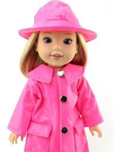 This is a great little rain coat and hat set made with quality vinyl. The coat fastens at the front with buttons. Boy Doll, Girl Doll Clothes, Girl Dolls, American Girl Wellie Wishers, Wellie Wishers Dolls, Cabbage Patch Kids, Raincoats For Women, Doll Shoes, Rainy Days