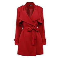 Yoins Yoins Red Belted Trench Coat (€37) ❤ liked on Polyvore featuring outerwear, coats, jackets, coats & jackets, red, red trenchcoat, red coat, red trench coat, trench coat and slim fit coat