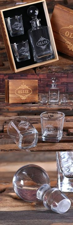 Personalized Whiskey Decanter with Two Rocks Glasses in Wood Gift Box   Personalized Gifts and Party Favors