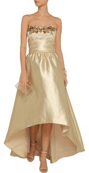 Marchesa Notte Strapless Beaded Pleated Dress