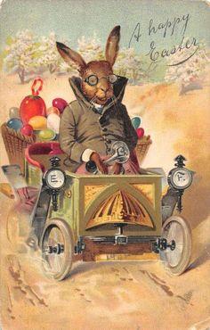 Easter bunny in car, Biblioteca Digital Memoriademadrid, CC BY-NC Easter Art, Hoppy Easter, Easter Bunny, Easter Eggs, Easter Table, Easter Decor, Easter Greeting Cards, Vintage Greeting Cards, Vintage Postcards