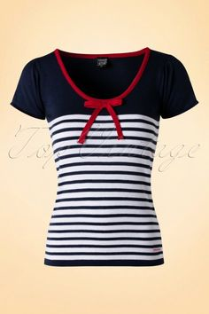 Mademoiselle yeye Nele Knit Blue and white Striped Red Bow Top 111 39 Raglan Shirts, Umgestaltete Shirts, Pin Up Outfits, Pretty Outfits, Rockabilly Fashion, Retro Fashion, Red Accessories, Clothes Crafts, T Shirts For Women
