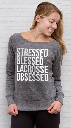 Lacrosse isn't just a sport...it's a way of life! Rep the #lacrosselife in our cozy wide neck fleece sweatshirts!