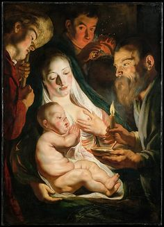 The Holy Family with Shepherds - Jacob Jordaens.  1616.  Oil on canvas transferred from wood.  106.7 x 76.2 cm.  Metropolitan Museum of Art, New York City NY, USA.