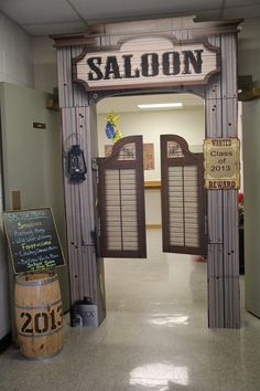 "Faculty lounge door decor idea for ""Best in the West"" Teacher Appreciation Week"