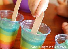 diy rainbow pudding pops!