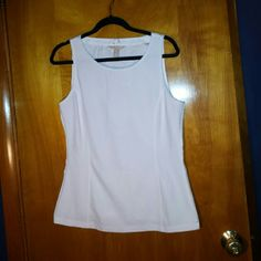 NWT Banana Republic white sleeveless. Louse White rib knit front sleeveless top with sheer back. Size medium. NWT. Banana Republic Tops Blouses