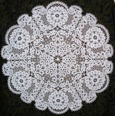 Advanced Embroidery Designs - FSL Battenberg Wreath of Camellias Lace Doily