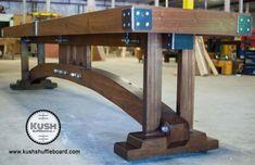 Craftsman Shuffleboard | Etsy Vintage Industrial Furniture, Industrial Table, Solid Wood Furniture, Diy Furniture, Outdoor Furniture, Outdoor Decor, Shuffleboard Table, Mid Century House, Farmhouse Table