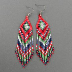 Long colorful seed bead earrings  dangle earrings by Anabel27shop, $23.00