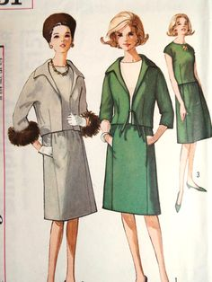 **Last chance to buy**  Vintage 1960s Simplicity 5151 sewing pattern for a suit set  A jacket with an Italian style collar, overblouse and gored