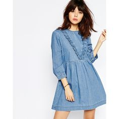 ASOS Denim Smock Dress with Ruffle Detail in Mid Blue ($60) ❤ liked on Polyvore featuring dresses, mid stonewash, blue dress, asos, zipper back dress, loose fitting dresses and denim dress