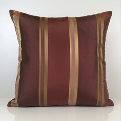 "Amazon.com - Burgundy, Copper Pillow, Throw Pillow Cover, Decorative Pillow Cover, Cushion Cover, Accent, Golden Tan Striped Pillow, Silk Blend Pillow (18""x18"") -"