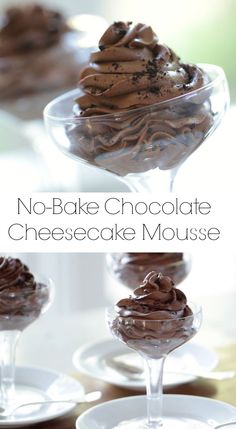 A decadent No-Bake mousse without raw eggs. Recipe + Video Tutorial If you need a decadent chocolate mousse recipe without eggs, this is the recipe for you! My No-Bake Chocolate Mousse is as easy as it gets. No Bake Chocolate Cheesecake, Easy Chocolate Mousse, Chocolate Wafer Cookies, Homemade Chocolate, Chocolate Recipes, Chocolate Moose, Samoa Cheesecake, Chocolate Cake, Chocolate Trifle