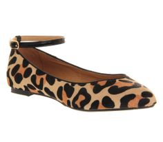 Womens Office Kitten Point Ankle Strap LEOPARD PONY Flats