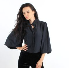Vintage Black Minimalistic Wide Sleeve Buttoned Shirt by Ramaci
