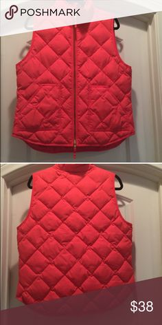 J CREW quilted/puffer vest.  Women's size MEDIUM. J CREW quilted/puffer vest.  Women's size MEDIUM. Gently loved.  The color is very bright coral. J. Crew Jackets & Coats Vests