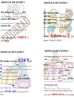 Articles of Faith memorization book page 2  I like this but couldn't find the link or the rest.