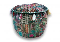 Indian Traditional Home Decorative Multi Ottoman Handmade and Patchwork Foot Stool Floor Cushion, Size 14 X 46cm X 46cm