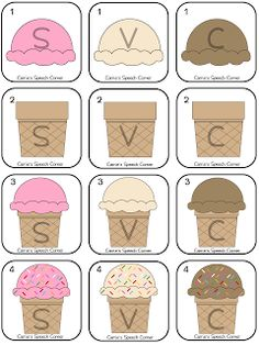 Free! Summer Ice Cream Fun!!! Open Ended Ice Cream Themed Quick Game collect cards 1-4 of an ice cream flavor to win the game...thanks to Carrie's Speech Corner.