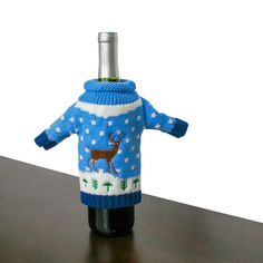 Knit Ugly Christmas Sweater For Your Bottle of Wine – Blue Reindeer