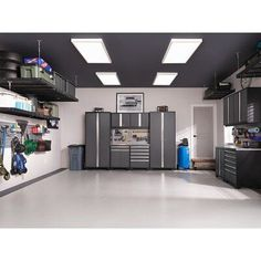 NewAge Products Pro Series 10 Piece Garage Storage Cabinet Set with Worktop Finish: Gray, Worktop Material: Stainless Steel Storage Shed Organization, Garage Workshop Organization, Garage Storage Cabinets, Garage Storage Solutions, Wall Cabinets, Home Renovation, Kitchen Renovations, House Remodeling, Garage House
