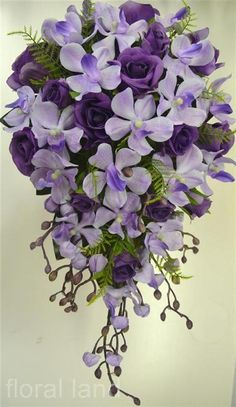 Silk wedding bouquet artificial flower purple lilac rose orchid teardrop flowers