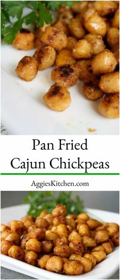 A Tasty Way To Serve Garbanzo Beans As A Snack Or Appetizer - Pan Fried Cajun Chickpeas Are Highly Addicting And Very Easy To Make. Through Aggieskitchen Roasted Garbanzo Beans, Garbanzo Bean Recipes, Garbonzo Beans, Cooking Garbanzo Beans, Chickpea Recipes, Vegetarian Recipes, Healthy Recipes, Snack Recipes, Chicken