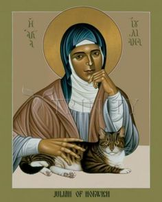 """""""Julian of Norwich"""" by Brother Robert Lentz , OFM. © 1995 Julian of Norwich is a medieval English mystic who celebrated """"Mother Jesus. Religious Images, Religious Icons, Religious Art, Catholic Art, Catholic Saints, Patron Saint Of Cats, All Shall Be Well, Christian Mysticism, Art Icon"""