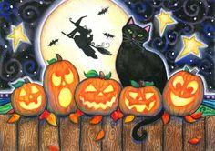 Vijf kleine pompoenen 5 x 7 Halloween afdrukken zwarte kat