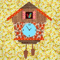 Cuckoo Clock quilt block paper pieced quilt by BubbleStitch