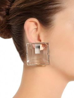 KRIZIA, Square plexi clip-on earrings, Transparent, Luisaviaroma - Silver colored metal . Clip-on Jewelry Model, Ear Jewelry, Stone Jewelry, Jewelry Accessories, Jewelry Design, Jewellery, Unusual Jewelry, Modern Jewelry, Pretty Engagement Rings