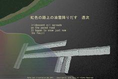 「虹色の路上の油雪降りだす」(透次)季語(雪・冬) iridescent oil spreads  on the paved road It began to snow just now(by Touji)