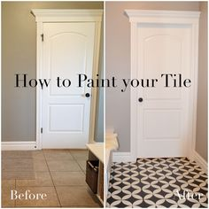 painted tile, tutorial, chalk paint, how to, black, white, cement tile, diy, update tile