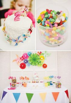 Creative Rainbow Pinwheel Party Theme with DIY pinwheel backdrop, party hat activity, colorful sugared marshmallows, confetti cakes & more!