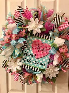 Spring Wreaths For Front Door Diy, Summer Wreath, Holiday Wreaths, Mothers Day Decor, Mothers Day Wreath, Initial Door Wreaths, Diy Wreath, Wreath Ideas, Wreath Forms