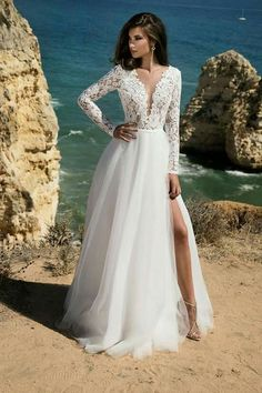 LORIE Long Sleeves Boho Wedding Dress 2019 Backless Side Split Appliques Lace A Line Tulle Vintage Bride Dresses Wedding Gown – fashion Long Sleeve Wedding Dress Boho, Top Wedding Dresses, Wedding Dress Trends, Bridal Dresses, Wedding Gowns, Wedding Attire, Wedding Bride, Wedding Venues, Wedding Ideas