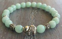Elephant Bracelet, Elephant Jewelry,  Boho Bracelet, Elephant Bead, Bohemian Bracelet, Gemstone Beads, Gemstone Bracelet