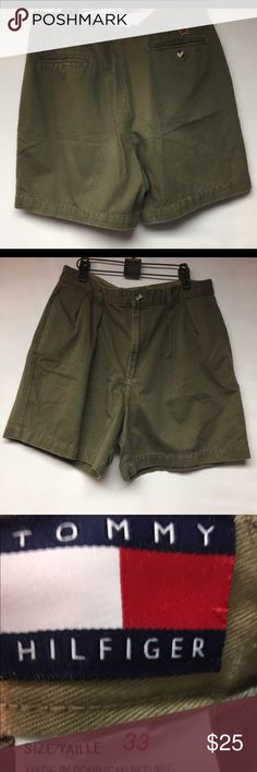 Vintage Tommy Hilfiger Men's Size 33 Shorts Nice pair of gently worn Vintage Men's Tommy Hilfiger Size 33 Khaki Shorts. These shorts are a hunter green and in excellent condition. Tommy Hilfiger Shorts Flat Front