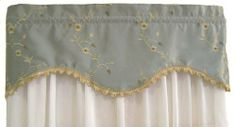 RLF Home Summer Bravo Valance, Sky by RLF Home. $37.67. 100-Percent embroidered polyester. Made with 1-1/2 rod pocket to fit a standard. 50-Inch w by 17-inch l lined with a scalloped trim. Proudly made in USA, vacuum or dry clean for best results. Fits window up to 48-inch W when flat gather for smaller windows, add multiples for larger ones. An RLF Home original design of custom styled window treatments, this bravo valance is a rambling floral embroidered vine...