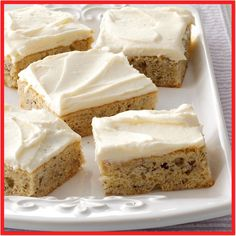 Banana Bars with Cream Cheese Frosting Recipe - I make these moist bars whenever I have ripe bananas on hand, then store them in the freezer to share later at a potluck. With creamy frosting and big banana flavor, this treat is a real crowd-pleaser. Brownie Desserts, Oreo Dessert, Mini Desserts, Dessert Bars, Just Desserts, Delicious Desserts, Desserts With Bananas, Recipes With Bananas, Apple Desserts