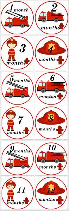 FiremanFirefighter Monthly Birthday by SnuggleBugBabyandMe on Etsy, $9.00
