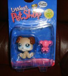 Littlest Pet Shop Puppy with Teddy Bear #143 NIB Retired #Hasbro