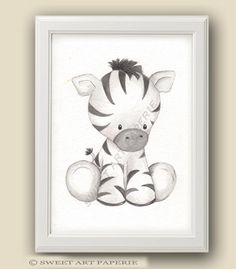 Baby Zebra - Safari Nursery Art - Nursery Decor - PRINT - Safari Animals, Wall art, Watercolor Print, Baby Animals, nursery Decor by SweetArtPaperie on Etsy https://www.etsy.com/listing/232462165/baby-zebra-safari-nursery-art-nursery