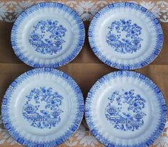 Bavaria Dessert Plates. Seltmann Weiden Plates. 4 China Blau Plates. German Vintage 1950s.
