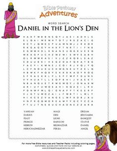 Daniel in the Lions Den. Free Bible lesson plans, cartoons, and puzzles for parents and teachers. Learn more about Babylon, Daniel, and the den of Lions. Kids Sunday School Lessons, Sunday School Crafts For Kids, Bible School Crafts, Bible Crafts For Kids, Bible Study For Kids, Bible Lessons For Kids, School Ideas, Daniel Bible Crafts, Bible Activities