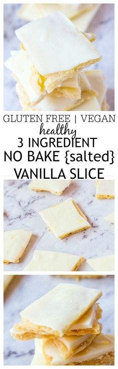 This Healthy No Bake Salted Vanilla Slice recipe requires just THREE ingredients to whip up and There is a fool proof version! {vegan, gluten free options}