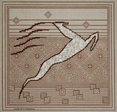 LizArt Needlepoint, Charted Needlepoint - Leaping Stag.  Stag is stitched with decorative stitches, while the background is all in tent stitch.